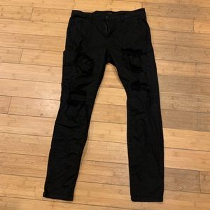Denim - Women's destressed black jeans